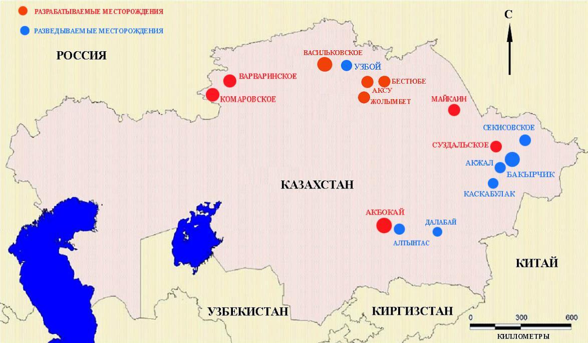 какие месторождения реализует казахстан