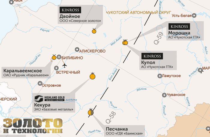 Месторождения золота на Чукотке
